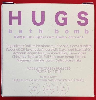 HUGS Broad Spectrum CBD Bath Bomb 5oz 50MG