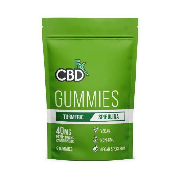 CBDfx Broad Spectrum CBD Gummies with Turmeric and Spirulina