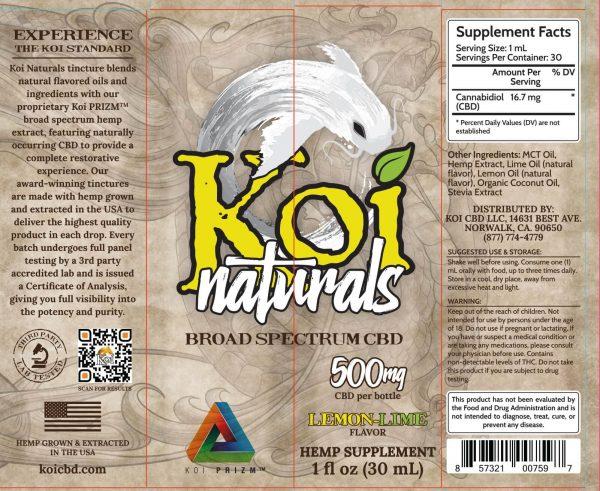 Koi Naturals Lemon Lime Full Spectrum Hemp Extract CBD Oil Tincture 30mL