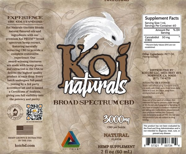 Koi Naturals Natural Flavor Broad Spectrum CBD Oil Tincture 60mL