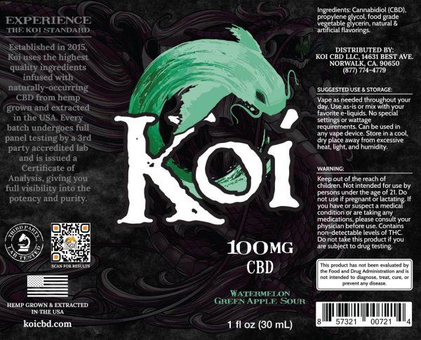 Koi Watermelon Green Apple Sour Hemp Extract CBD Vape Liquid 30mL