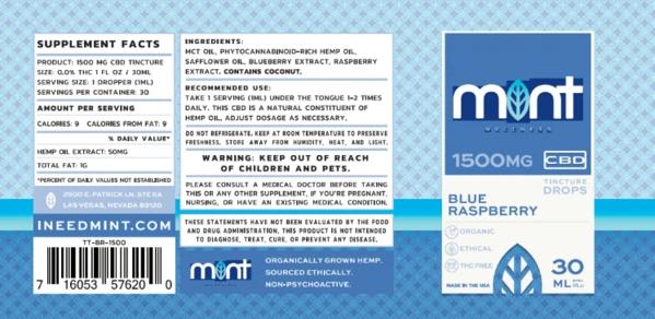 Mint wellness CBD blue Rasberry Tincture 30ml